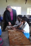 Bishop Christopher with some of the secondary school girls
